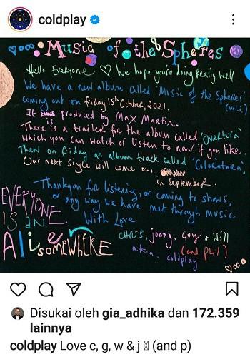 """Band Coldplay Umumkan Album Baru yang Akan Rilis Oktober 2021 Berjudul """"Music of the Spheres"""""""