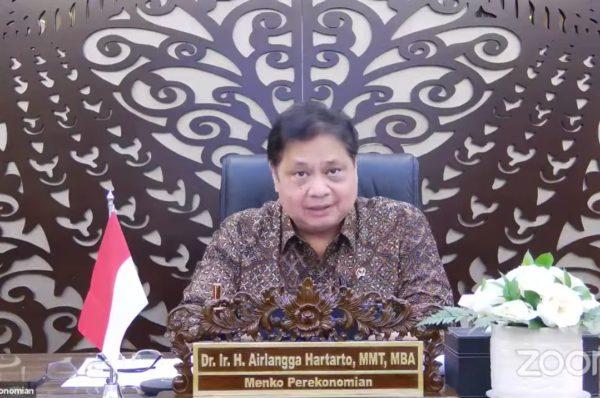 Menteri Koordinator Bidang (Menko) Perekonomian Airlangga Hartarto dalam Keterangan Pers mengenai Perkembangan PPKM Terkini, di Jakarta, Senin (20/09/2021) sore.