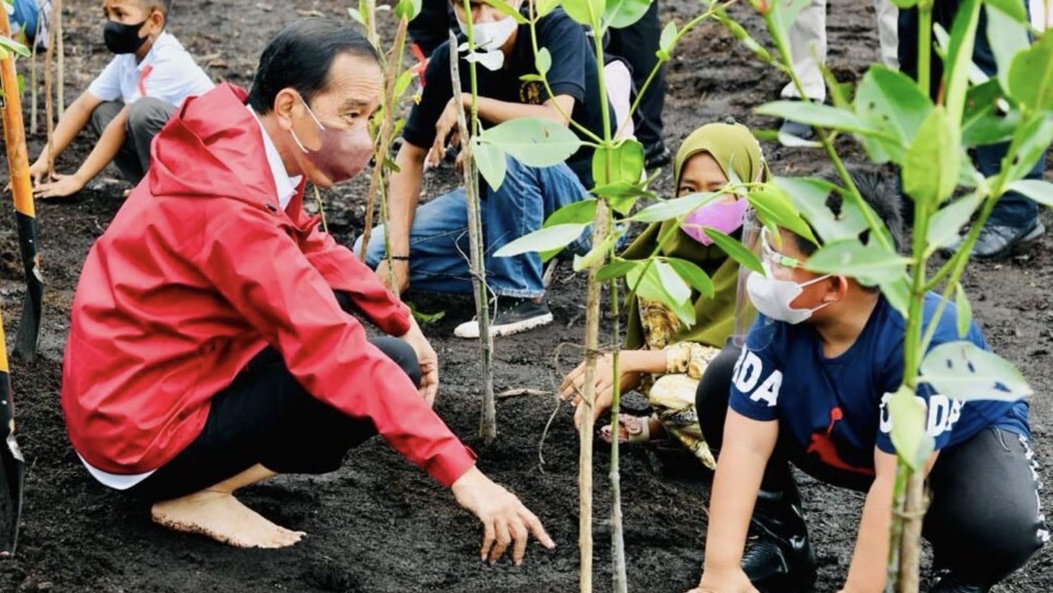 Presiden Joko Widodo saat menanam pohon mangrove bersama masyarakat di Pantai Setokok, Kecamatan Bulang, Kota Batam, Provinsi Kepulauan Riau, Selasa (28/09/2021).