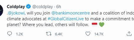 Coldplay sebut akun resmi Jokowi di twitter