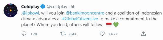 Sebut Akun Resmi Jokowi, Coldplay Ajak Presiden Gabung Global Citizen Live